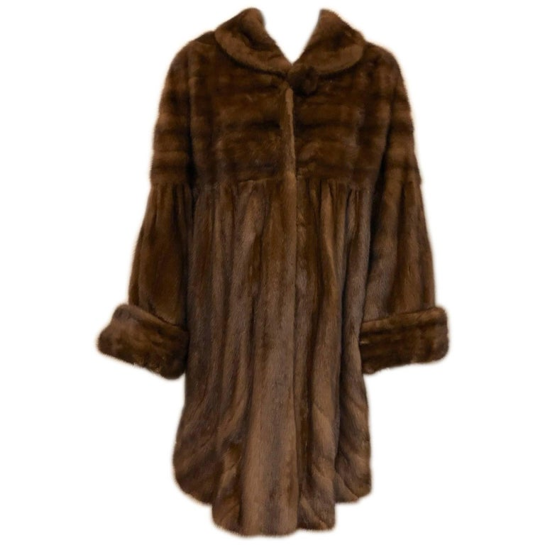 Brown Mink Gathered Swing Coat With Shawl Collar and Bell Sleeves
