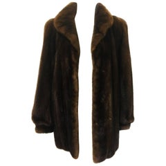 Revillon for Saks Fifth Avenue Brown Ranch Mink Jacket With Gathered Sleeves