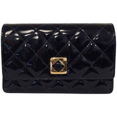 Chanel Black Patent Diamond Quilted Clutch Bag With Gold Tone Hardware, 1990s