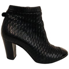 Chanel Black Quilted Leather Ankle Booties