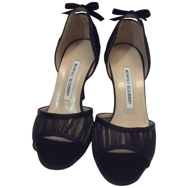 Manolo Blahnik Black Peep Toe Dress Pumps