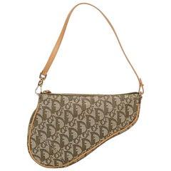 Tan & Green Christian Dior Jacquard Saddle Bag