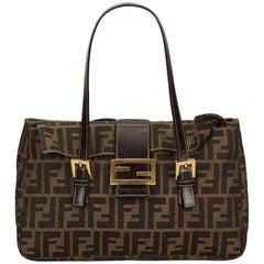 Brown Fendi Jacquard Zucca Shoulder Bag