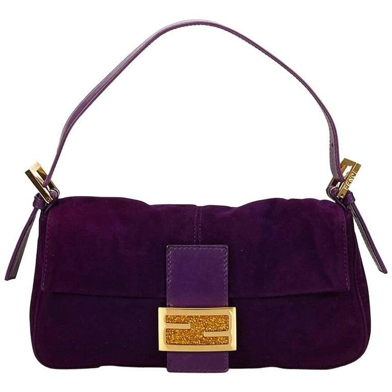 Purple Fendi Nubuck Leather Baguette Bag