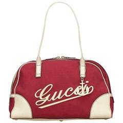Gucci Red and Cream Nylon and Leather Duffel Bag