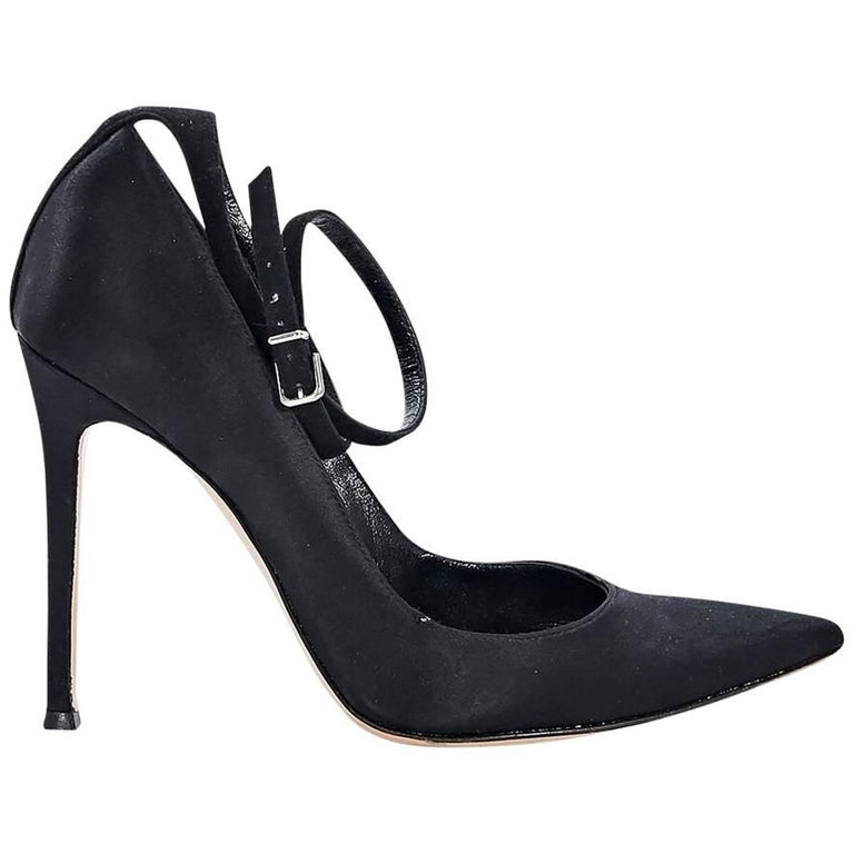 Black Gianvito Rossi Satin Ankle-Strap Pumps