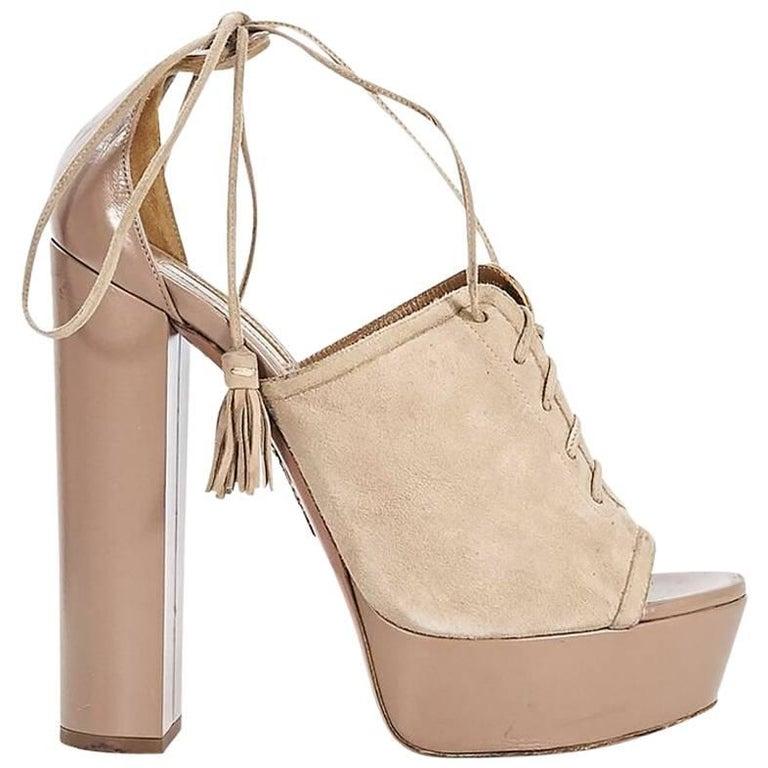 Tan Aquazzura Suede & Leather Platform Sandals
