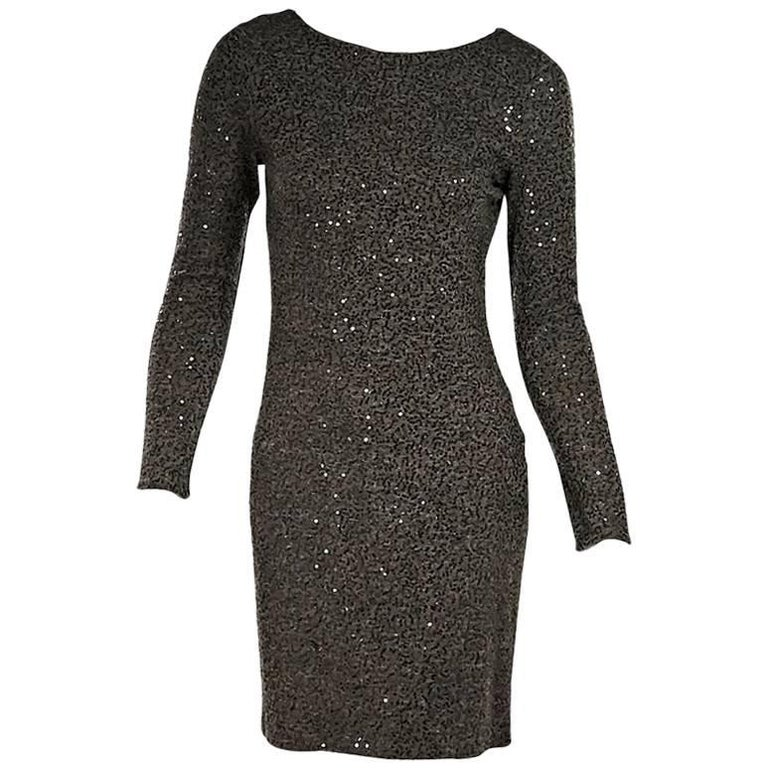 Olive Green Alice Olivia Long Sleeve Sequin Dress For