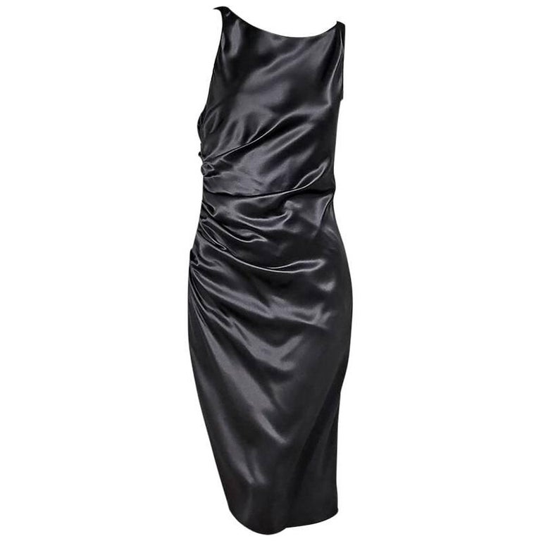 Grey Monique Lhullier Silk Sheath Dress