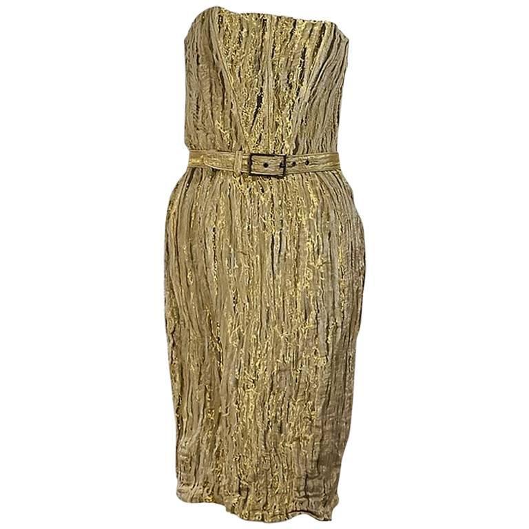 Metallic Gold Brian Reyes Belted Strapless Dress