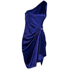 Purple Roberto Cavalli Single-Shoulder Silk Dress
