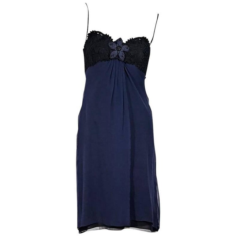 Navy Blue & Black Carolina Herrera Strapless Dress