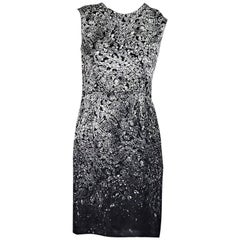 Grey Lanvin Crystal-Printed Sheath Dress