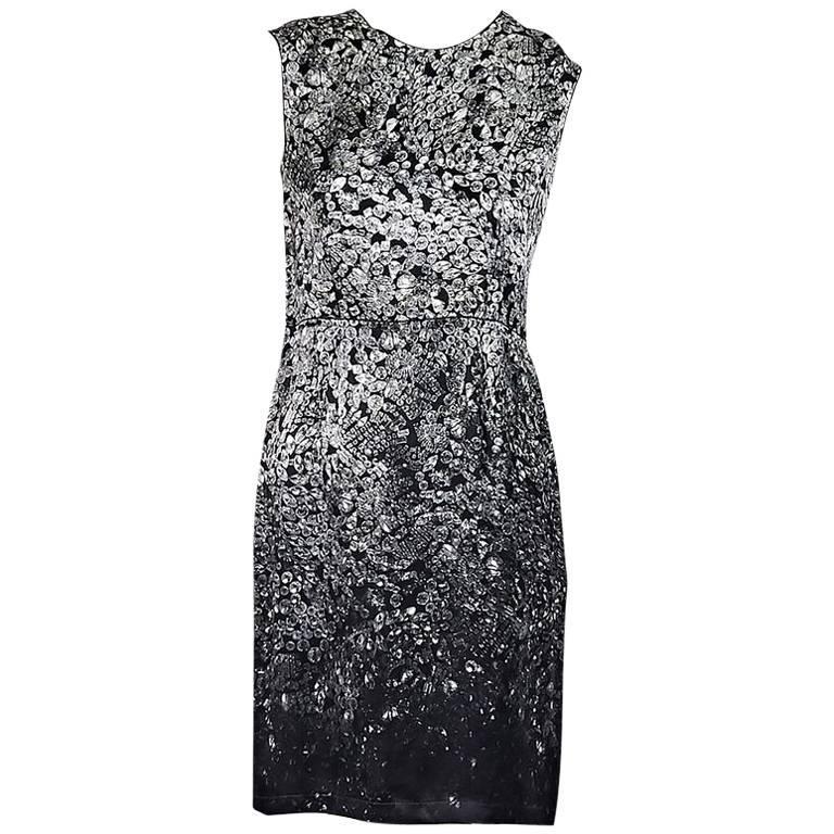 Grey Lanvin Crystal-Printed Sheath Dress