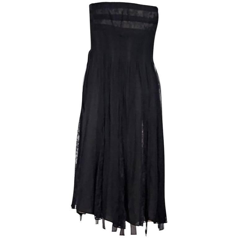 Black Carmen Marc Valvo Strapless Silk Dress For Sale at 1stdibs