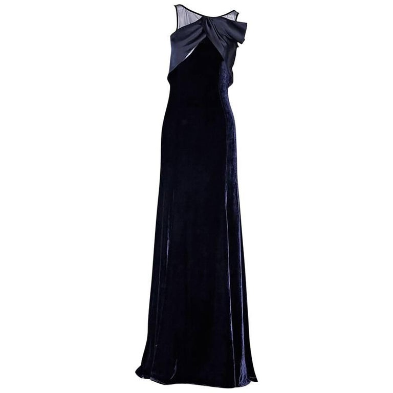 Navy Blue Armani Collezioni Velvet Gown For Sale