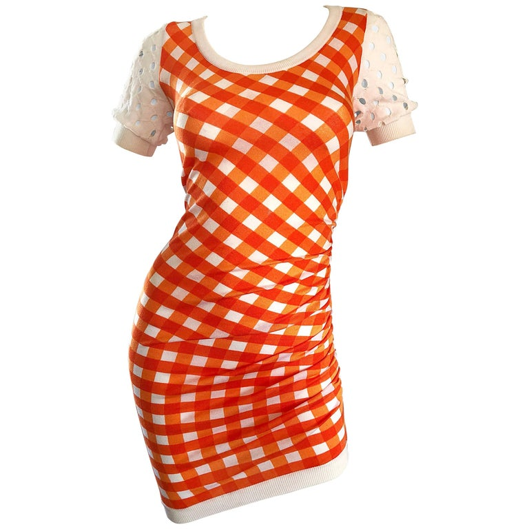 Vintage Moschino Cheap & Chic 1990s Orange + White Gingham Bodycon 90s Dress For Sale