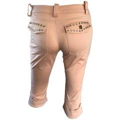 1990s Alexander McQueen Light Pink Rhinestone Studded Rare Capri Pants Shorts