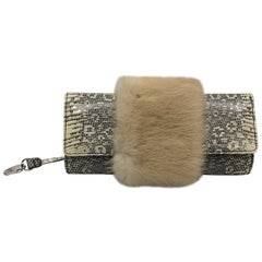 Salvatore Ferragamo Lizard And Mink Small Clutch
