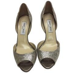 Jimmy Choo Peep Toe Glitter Heel