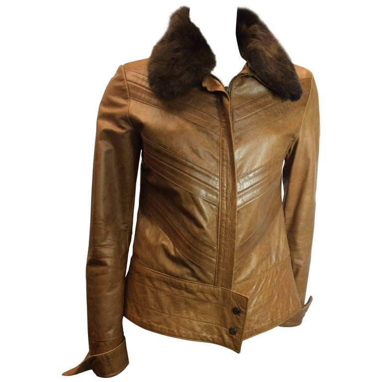Just Cavalli Leather Jacket With Rabbit Collar