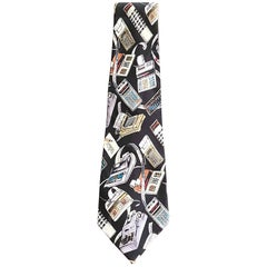 Nicole Miller Limited Edition Men's Novelty Calculator Print Silk Neck Tie, 1990