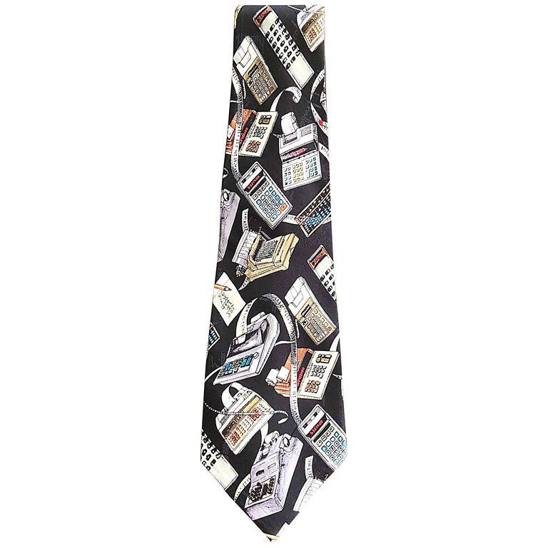 Nicole Miller Limited Edition Men's Novelty Calculator Print Silk Neck Tie, 1990 For Sale