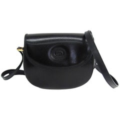 Gucci Black Leather Saddle Crossbody Shoulder Flap Bag