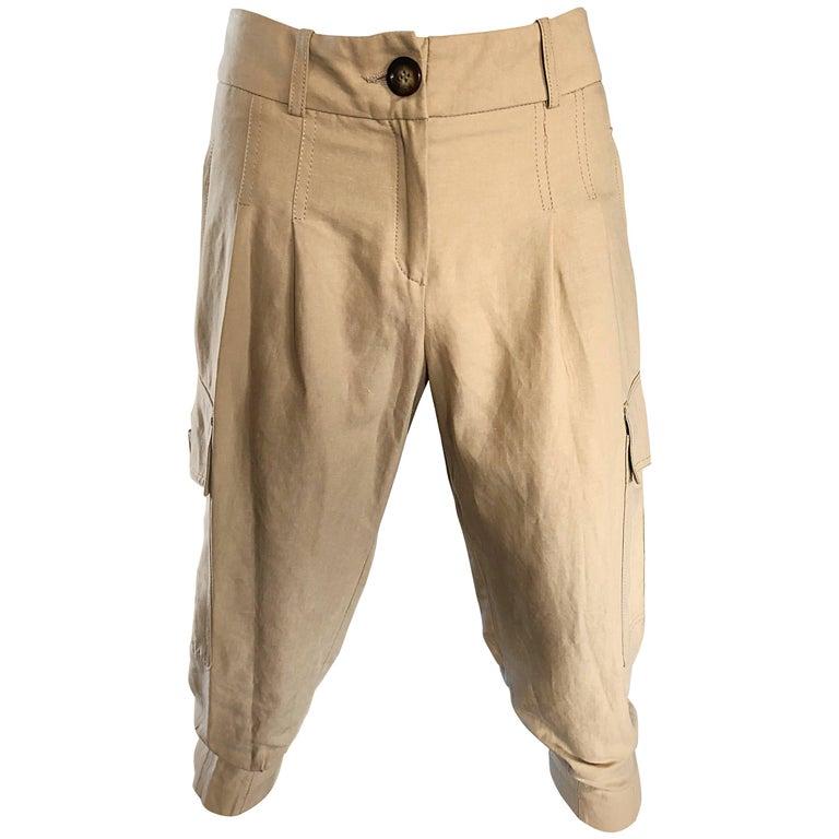Michael Kors Collection 1990s Khaki Jodhpur Safari Style Cargo Capri Pants
