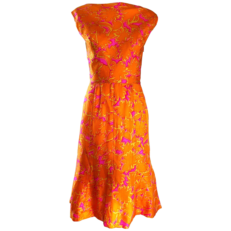 Early 1960s Neon Orange + Hot Pink Silk Boat Neck Draped Back A Line 60s Dress