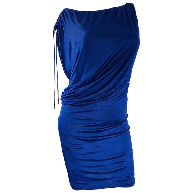 Roberto Cavalli Vintage Navy Blue Silk Jersey Off Shoulder Sexy Dress, 1990s
