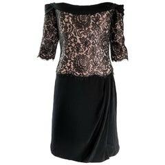 Vintage Bob Mackie Size 14 Black + Nude Lace Crepe Off - Shoulder 1990s Dress
