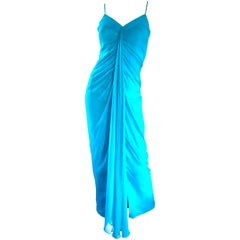 1970s Lilli Diamond Turquoise Blue Silk Chiffon Grecian Style 70s Evening Gown