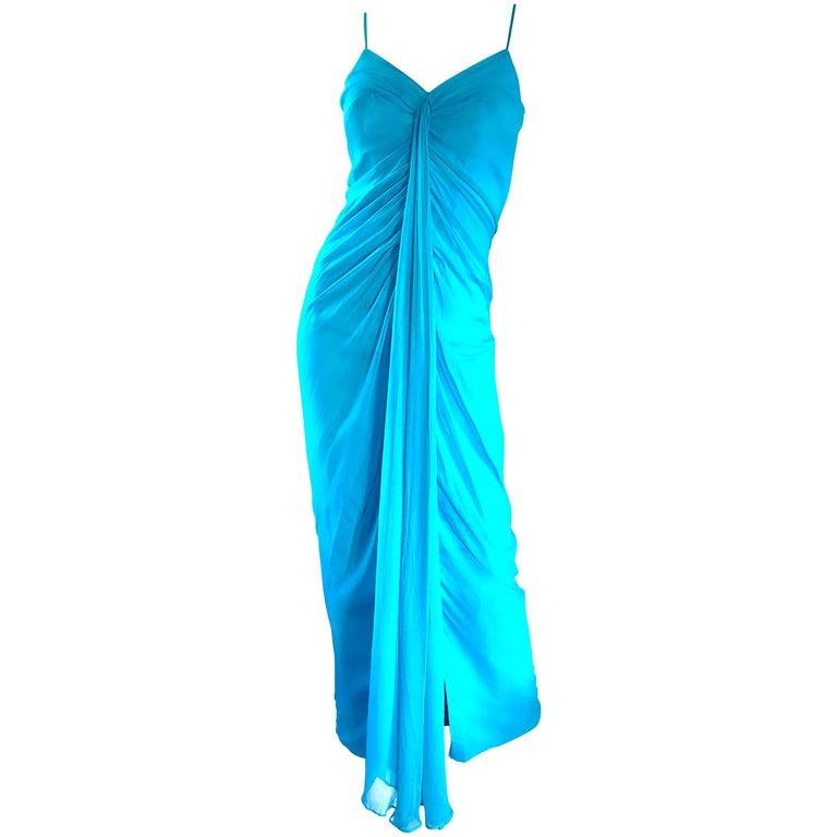 1970s Lilli Diamond Turquoise Blue Silk Chiffon Grecian Style 70s Evening Gown