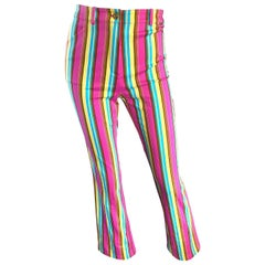 St John Marie Gray Vintage Candy Stripe Size 2 / 4 Boot Cut High Waist Pants
