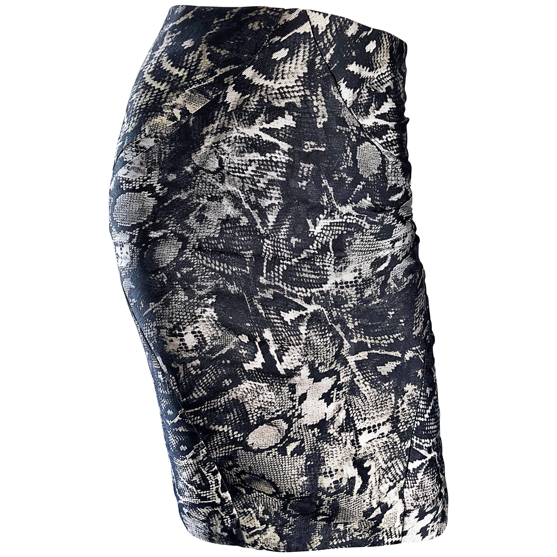 Zac Posen New Black and White Silver Snake Print Silk High Waisted Pencil Skirt