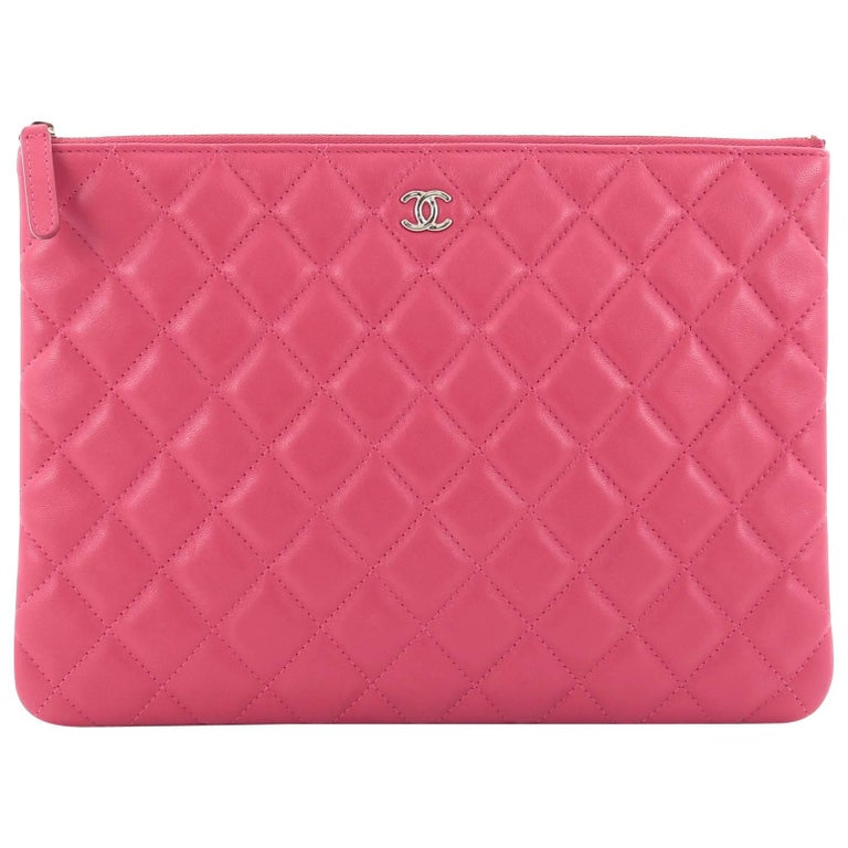Chanel O Case Clutch Quilted Lambskin Medium At 1stdibs