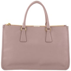 Prada Lux Double Zip Frame Tote Saffiano Leather