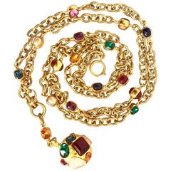 Chanel Vintage colorful gripoix stones and faux pearls double chain necklace
