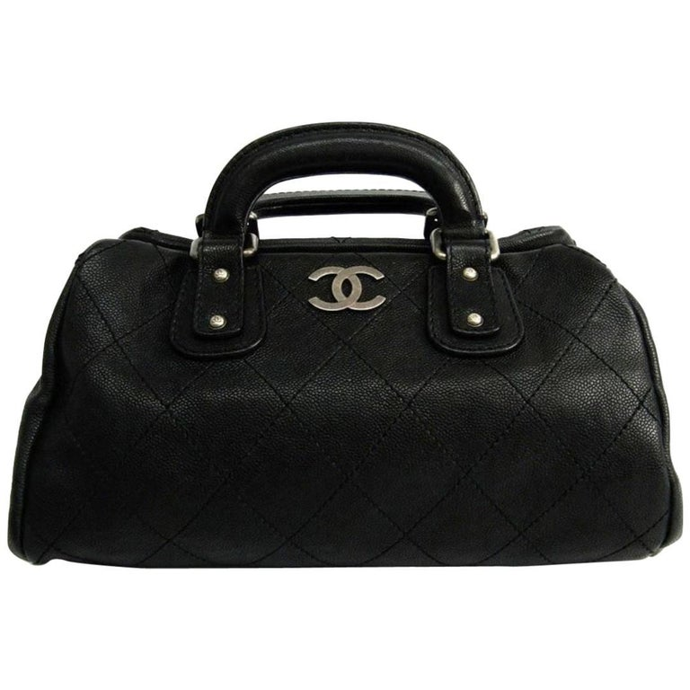 Chanel Black Leather Silver Top Handle Satchel Boston Doctor Hand Bag