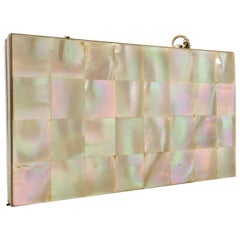 1940'S Mother Of Pearl and Brass Double Sided Minaudiere Compact