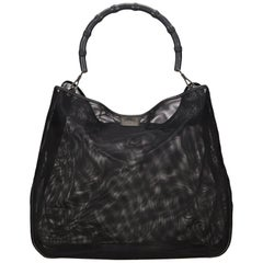 Gucci Black Bamboo Mesh Tote Bag