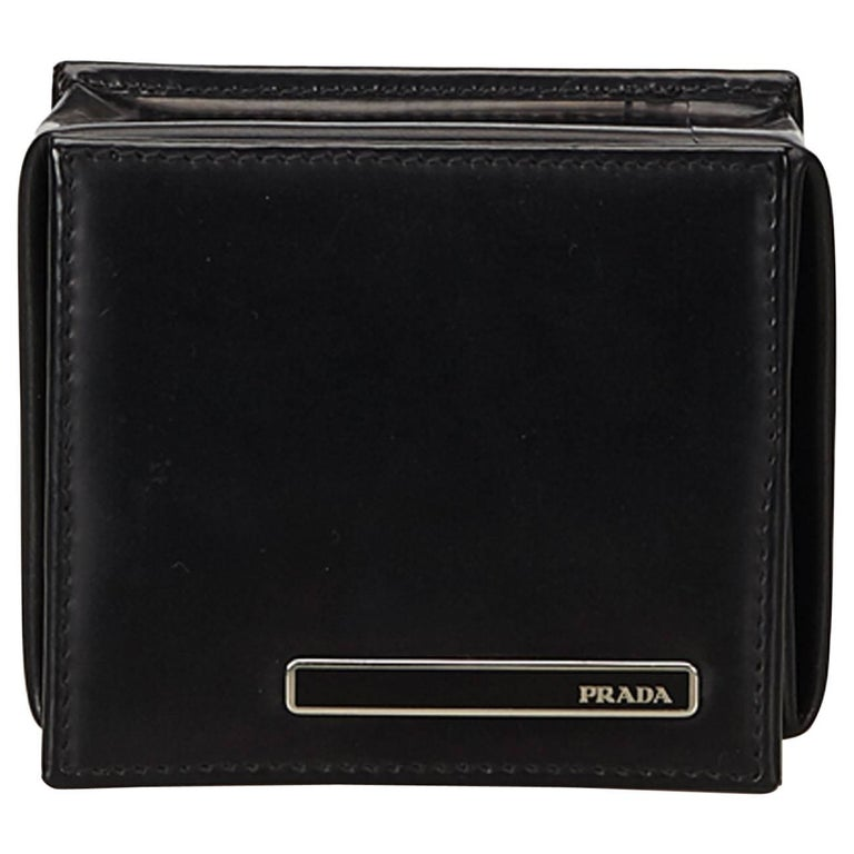Prada Black Leather Coin Pouch