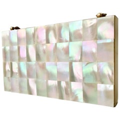 1940'S Mother Of Pearl & Brass Minaududiere Compact-Evening Bag.