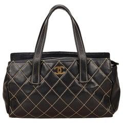 Chanel Black Wild Stitch Leather Handbag