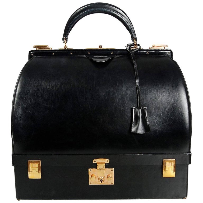 Hermes Paris Rare Black Leather Sac Mallette Two Tier Travel Case Handbag, 1970s
