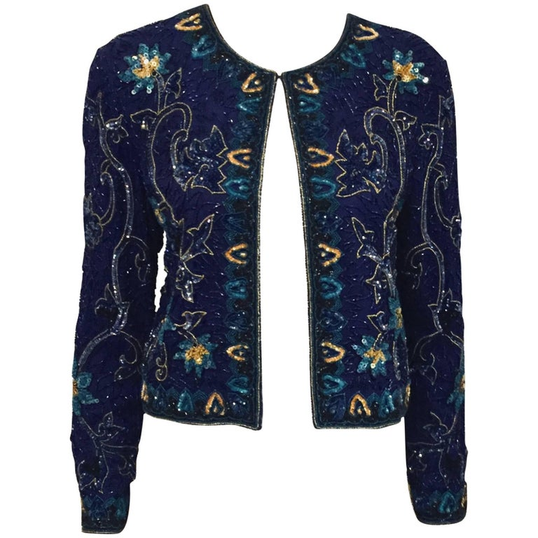 Michael Kors Deep Royal Purple Embroidered Cropped Evening Jacket