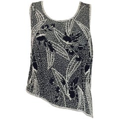 Saint Laurent Black and White Beaded Sleeveless Top with Asymmetric Hem