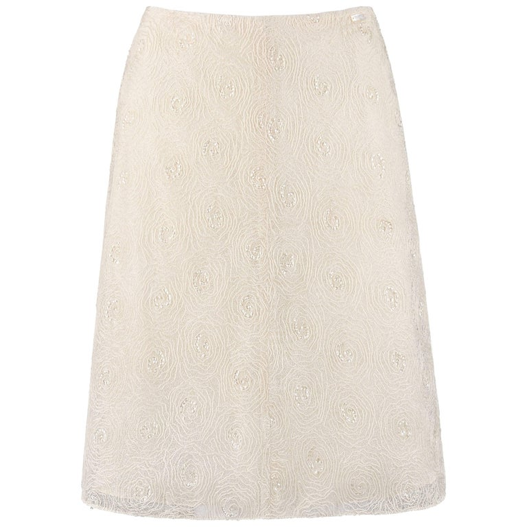 CHANEL S/S 2002 Cream Floral Embroidered Sequin Embellished Skirt  For Sale