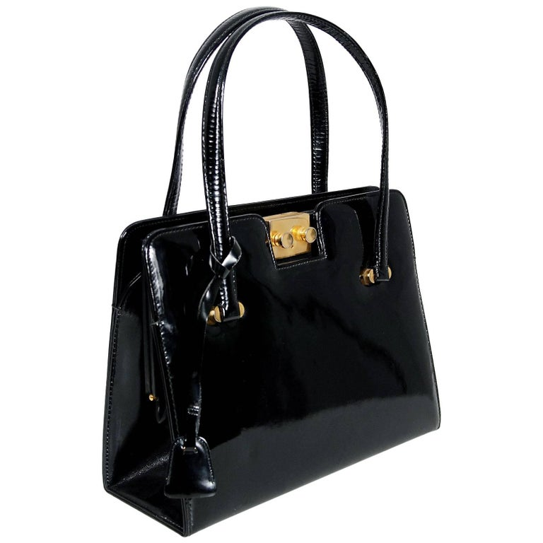 1960's Gucci Rare Black Patent Leather Lock and Key Structured Handbag Purse